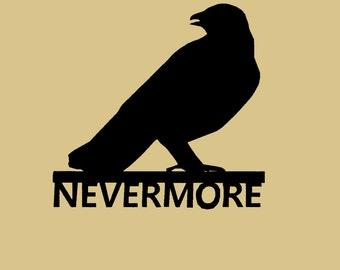 Nevermore, Poe, Raven, Crow, Macabre, Metal Art, Gothic, Poem, Writer