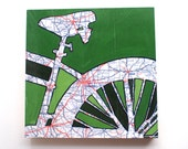 Columbus mounted print - featuring Newark, Marion Ohio  bicycle art mounted to wood