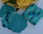 Crocheted 100% Cotton Bath/Shower Set- 1 Variegated Teal Washcloth and 3 Teal- Variegated Teal/Green Scrubbies