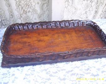 SALE-Antique Wood Wicker Desk Dresser Basket Tray