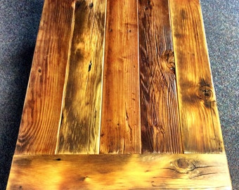 Reclaimed Wood Coffee Table with Shelf and Breadboard Ends