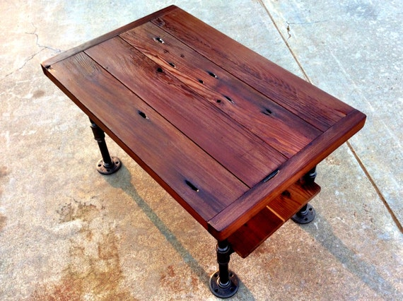 Small industrial coffee table with shelf 32 w x for Small industrial coffee table