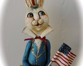 Primitive Folk Art Banana Gourd Americana Bunny Rabbit PFATT HAFAIR