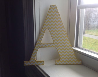 """Yellow Chevron """"A"""" wooden wall letter/wall decor/initial"""