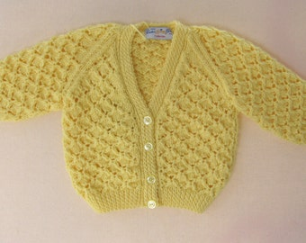 Beautiful Hand Knit Yellow Spring Cardigan - 9 to 12 Months