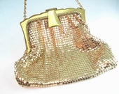 Whiting & Davis Mesh Purse. Gold Mesh. Evening Bag. Art Deco Style Wedding Accessory. Vintage 1950s Bags and Purses.