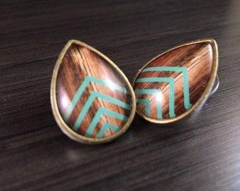 """0g Teardrop Plugs 00g 2g 4g Mint Chevron Body Jewelry 1/2"""" 12mm Ear Tunnels Tear Drop Ear Gauges Wood Pattern Accent"""