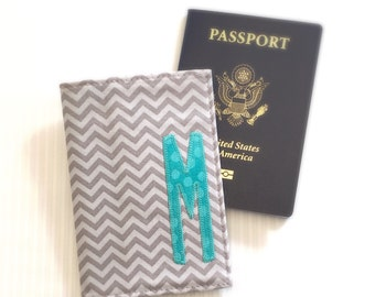 Passport Cover , Personalized with Initial ,  Graduation Gift , Destination Wedding , Bridesmaid and Maid of Honor Gift , Grey Gray Chevron