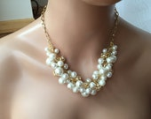 Gold and Ivory cluster Pearl necklace- bridesmaid jewelry - statement necklace