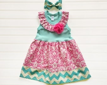 Girls Easter Dress Baby First Easter Dress Damask Dress Baby Toddlers Sizes 24 Months Girls 2 3 4 5 6 8