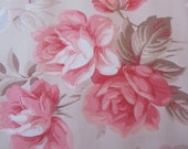 Gorgeous Vintage Wallpaper - Roses and Morning Glories - Pink on Tan