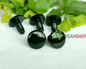 15mm Round Flat Eyes Plastic Safety Eyes - 5 Pairs - Black / White / Red / Yellow / Green / Blue