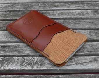 iPhone 7 & 6 - Leather case, Garny No.24, Whiskey Color Bison, Chestnut Brown, iPhone wallet, leather sleeve,  leathercase