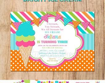 BRIGHT ICE CREAM invitation - You Print