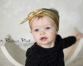 Gold top knot baby headband, gold girls headband, sailor knot headband, twist knot headband, knot headband, baby cotton headband, turban