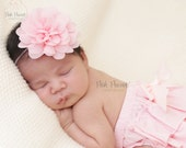pink peony flower headband, chiffon headband, baby headbands, girls headbands, skinny headbands, newborn headband, vintage pink headband