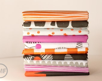 Fat Quarter Bundle Follie Coral Berry, 10 Pieces, Lotta Jansdotter, Windham Fabrics, 100% Cotton Fabric