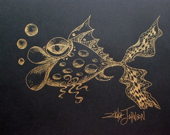Gold and Black pen and ink drawing-fish art-art fish-9 x 12 inches-coastal-beach art-modern art-nautical-big lip fish-gold ink on black