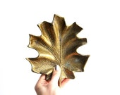 Vintage Solid Brass Maple Leaf Tray by Cambron