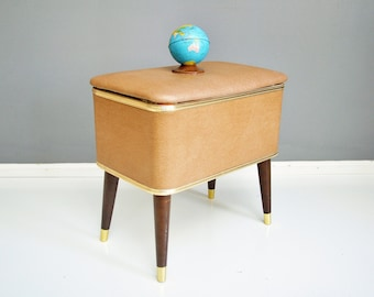 Mid-Century Sewing Stand with Supplies