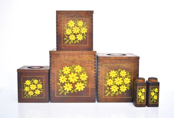 vintage wooden floral canister set with salt and pepper