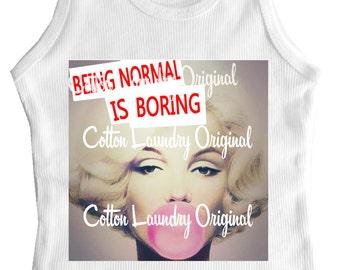 Marilyn Monroe tank tee shirt one piece body suit tshirt Vintage inspired childrens tshirt Being Normal is Boring