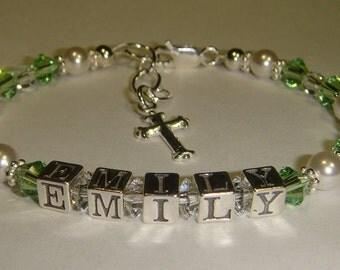 Girls First Communion Bracelet - Swarovski Pearls & Crystals - Sterling Silver Cross