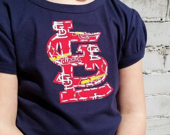 St. Louis Cardinals STL girl shirt, matching skirt, STL hand stitched shirt, vintage St. Louis Cardinals fabric