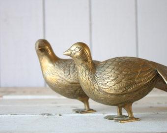 Vintage Brass Pheasant Pair // Solid Brass