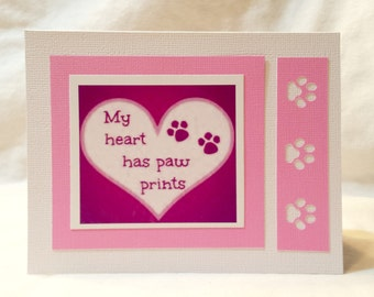 My heart has paw prints  Set of 2  Greeting Cards
