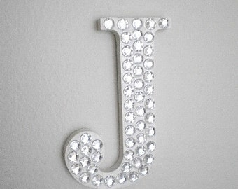 """BLING LETTERS - Handpainted Wall Letter Covered w/ Clear Rhinestones 5"""" in A-Z"""