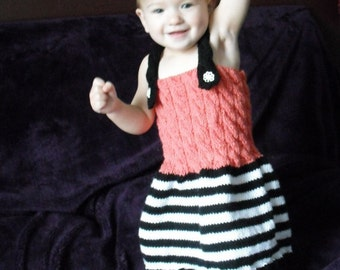 Baby dress - Black and White Baby Dress - Pink Dress - Baby Dress - Knitted dress - 12-18 months - Ready to ship