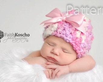 PDF CROCHET PATTERN Crochet Baby Girl Chunky Hat With Bow, Newborn Beanie, Baby Newborn Hat, Baby Girl, Baby Girl Beanie, Newborn Girl Hat
