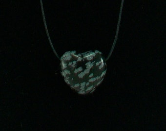 Heart Shaped Necklace Snowflake Obsidian Natural Stone
