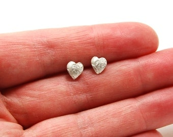 Floral Silver Heart Earrings - Sterling Silver Earrings - Stud Earrings - Jewelry Gifts ideas for Bridesmaids or Valentines