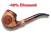 "Hand Carved Smoking Pipe. Tobacco Pipes - Wooden Pipes - Hand Carved Tobacco Wood Pipes ""Anchor 3"" & GIFT Pouch /BEST PRICE"