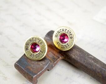 Bullet Earrings ~ Winchester 45 Colt ~ Bullet Casings Post/Stud Earrings ~ Fuchsia Gems ULTRA THIN