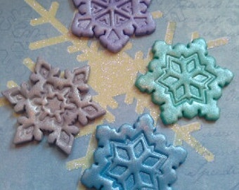 Colorful, Shimmered Snowflakes Edible Cupcake Toppers - Set of 12