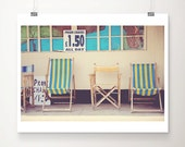 beach photograph, beach decor, deck chair, retro, green, yellow, stripe, seaside, Great Yarmouth, england photograph