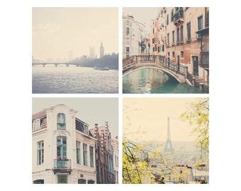 travel photography set paris photograph eiffel tower photograph paris decor london decor venice photograph london photograph