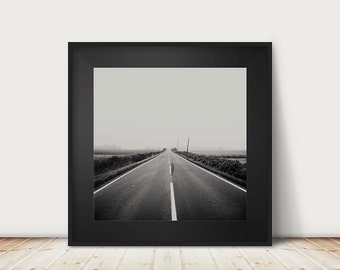 road photograph black and white photography fog photograph landscape photograph travel photography wanderlust art dark art road print