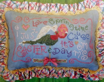 Trail Creek Farm Studio  I Just LOVE SPRINGTIME Spring CAUSE Easter Bunny Mother's Mom's Day - Counted Cross Stitch Pattern Chart