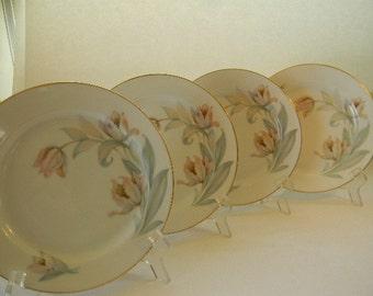 BAVARIA, (4) Vintage Tirschenreuth Bavaria, Luncheon,  Salad  Plates, Tulips
