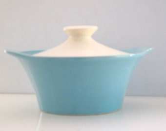 Vintage Pottery Turquoise and White Covered Casserole Dish