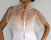 Blush Bridal Shrug, Bridal Cape Bolero, Pastel Peach Sheer Tulle Capelet,, Weddings Cape Shrug, Ecru, Cream, Handmade