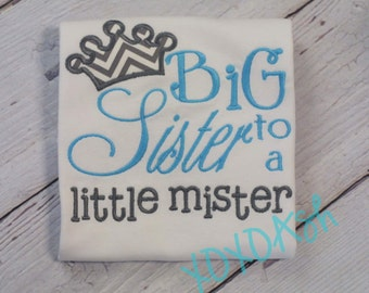 Big Sister Shirt with Turquoise and Grey--Pregnancy Announcement--Embroidered shirt or Bodysuit