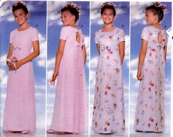 Girls' Sewing Pattern Formal Dress Floor Length Bridesmaid Wedding Flower Girl Size 12-14  Butterick 5384 Breast 30-32""