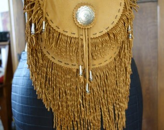 Deer leather shoulder bag fringed purse pouch saddle brown tribal native burning man hippie rustic  western silver concho cell phone case