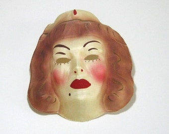 Vintage Gauze Halloween Mask: Vintage Cloth Mask, Creepy Nurse or Harem Girl