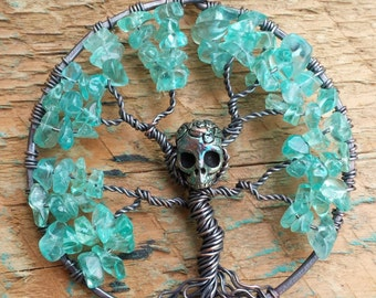 Tree of Life Pendant  with Apatite chips and Skull
